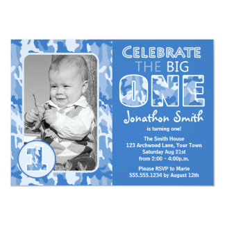 Blue Camouflage / Camo Photo First Birthday Party Card