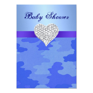 Blue Camouflage Diamond Heart Baby Shower Invite