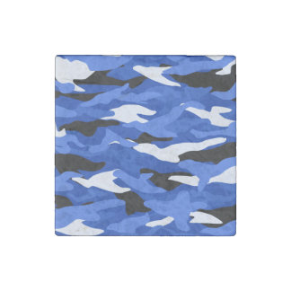 Blue camouflage stone magnet
