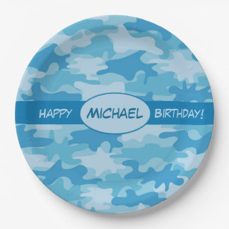 Blue Camouflage Happy Birthday Name Personalized 9 Inch Paper Plate