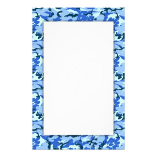 Blue Camouflage Military Background Stationery