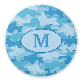 Blue Camouflage Monogram Initial Personalized Ceramic Knob