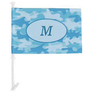 Blue Camouflage Monogram Initial Window Car Flag