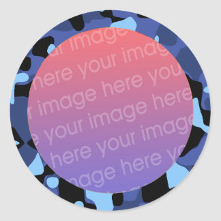 blue camouflage photo frame classic round sticker