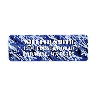 Blue Camouflage Return Address Label