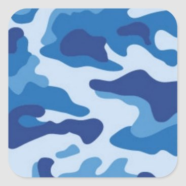Blue Camouflage Square Sticker