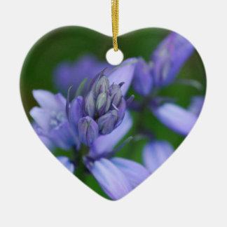 Blue Campanula Flowers Ornamnet Double-Sided Heart Ceramic Christmas Ornament