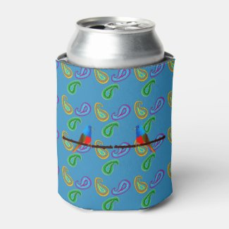 Blue Can Cooler with Birds and Paisley