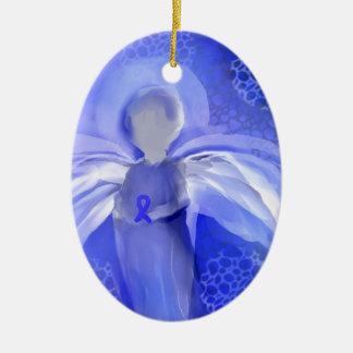 Blue Cancer Awareness Angel Ceramic Ornament