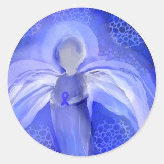 Blue Cancer Awareness Angel Classic Round Sticker