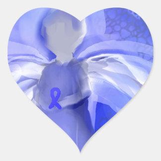 Blue Cancer Awareness Angel Heart Sticker