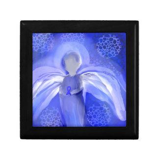 Blue Cancer Awareness Angel Jewelry Box