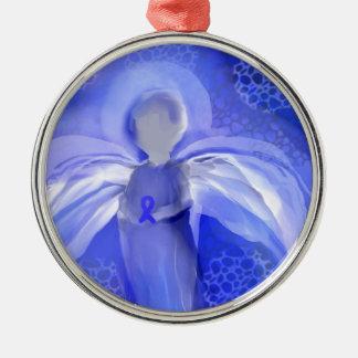 Blue Cancer Awareness Angel Metal Ornament