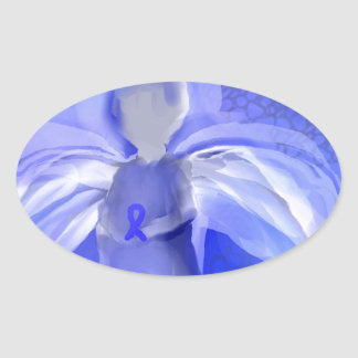 Blue Cancer Awareness Angel Oval Sticker