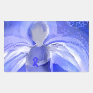 Blue Cancer Awareness Angel Rectangular Sticker