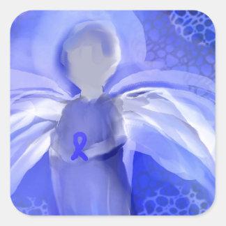 Blue Cancer Awareness Angel Square Sticker