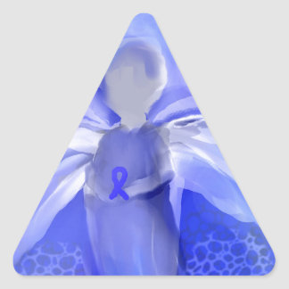 Blue Cancer Awareness Angel Triangle Sticker