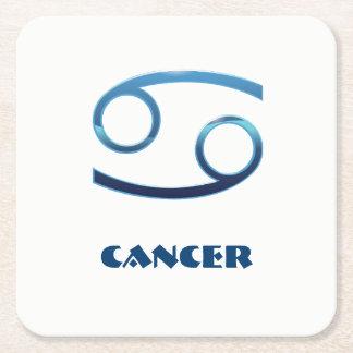 Blue Cancer Zodiac Sign On White Square Paper Coaster