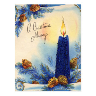 Blue Candle and Pinecones Christmas Postcard