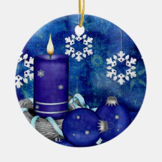 Blue Candle Christmas Ceramic Ornament