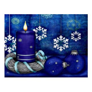 Blue Candle Christmas Postcard