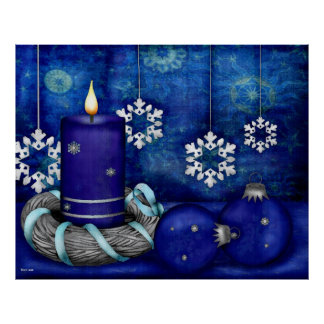 Blue Candle Christmas Poster