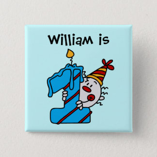 Blue Candle Clown 1st Birthday Button