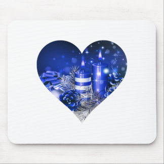 Blue Candle Heart Mouse Pad