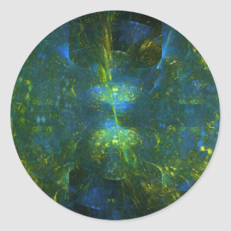 """Blue Candlelight"" Fractal Art Classic Round Sticker"