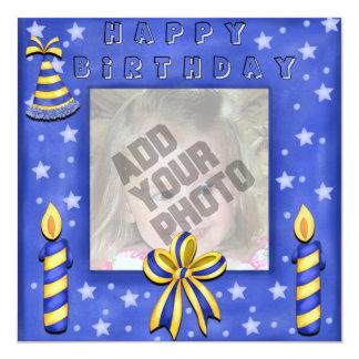 Blue Candles Birthday Card Custom Invite