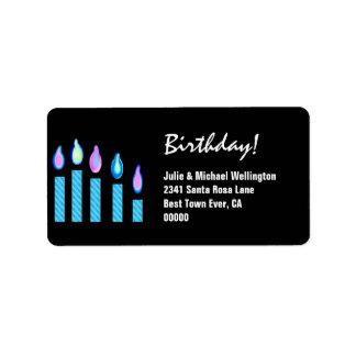 Blue Candles Birthday Custom Address Label