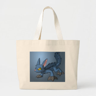 Blue Canid Dragon Hybrid Fantasy Cartoon Art Cute Jumbo Tote Bag