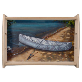 Blue Canoe Painting, Fishing Rod, Nature Serving Trays