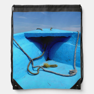 Blue Canoe with Rope Drawstring Backpack