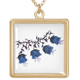 Blue Canterbury Bells Gold Finish Square Necklace