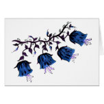 Blue Canterbury Bells on Vine Flowers Card