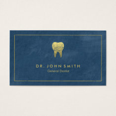 Blue Canvas Golden Frame & Tooth -  Dentist Business Card at Zazzle
