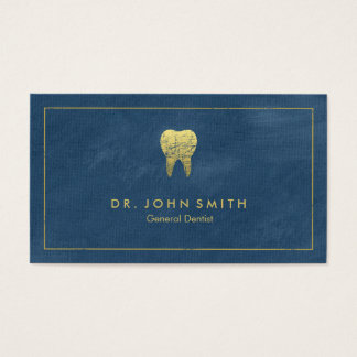 Blue Canvas Golden Frame & Tooth -  Dentist Business Card