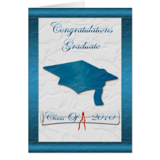 Blue Cap Graduation Invitation