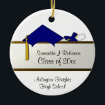 "Blue Cap Graduation Ornament<br><div class=""desc"">Graduation ornament gift for that special high school or college grad with custom front and back text. Features a blue cap and tied diploma.</div>"