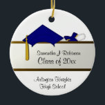"""Blue Cap Graduation Ornament<br><div class=""""desc"""">Graduation ornament gift for that special high school or college grad with custom front and back text. Features a blue cap and tied diploma.</div>"""