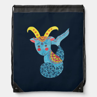 Blue Capricorn Illustration Printed on Drawstring Bag by Haidi Shabrina