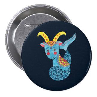 Blue Capricorn Illustration Printed on Pinback Buttonby Haidi Shabrina