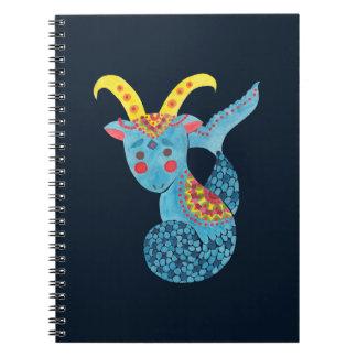 Blue Capricorn Illustration Printed on Note book by Haidi Shabrina
