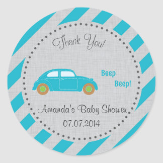 Blue Car Baby Shower Thank You Stickers