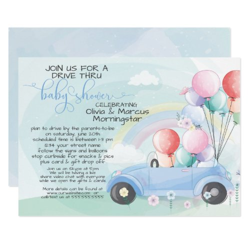 Blue Car Balloons Drive Thru Baby SHower Invitation