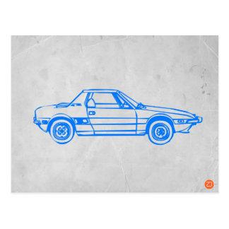 Blue Car Postcard