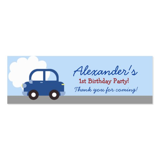 Blue Car Transportation Birthday Favor Tag Double-Sided Mini Business Cards (Pack Of 20)