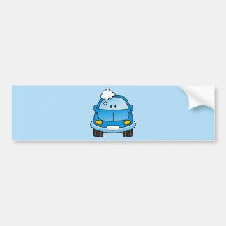 Blue car with bubbles bumper stickers
