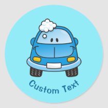 Blue car with bubbles classic round sticker